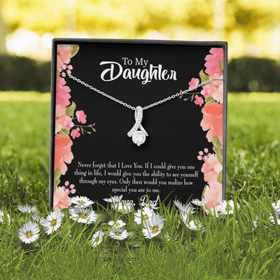 Daughter Jewelry Gift Never Forget Dad Eternity Ribbon Stone Pendant 14k White Gold Stainless Steel 18-22 Dad to Daughter Gift