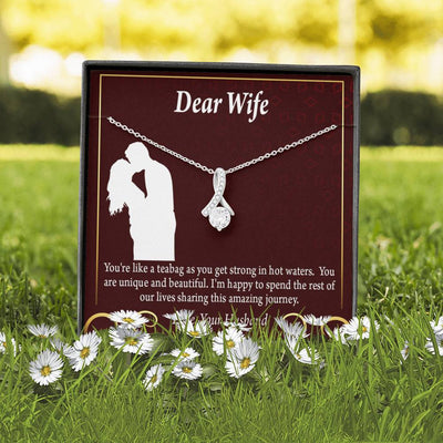 To My Wife Dear Wife Teabag and Love Journey Eternity Ribbon Stone Pendant 14k White Gold Stainless Steel 18-22