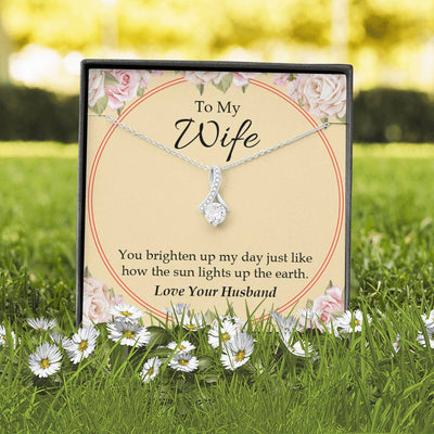 Wife Gift You Brighten Up My Day Eternity Ribbon Stone Pendant 14k White Gold Stainless Steel 18-22