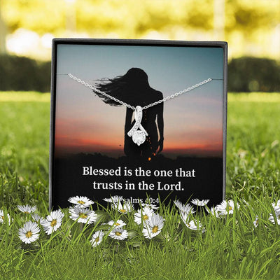 How Blessed is The Man Inspirational Message Gift Eternity Ribbon Stone Pendant Inspirational Gift Sympathy Gift Christian Gift Bible Verse