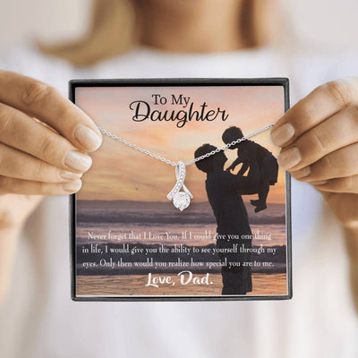 Daughter Jewelry Gift Never Forget Eternity Ribbon Stone Pendant 14k White Gold Stainless Steel 18-22 Dad to Daughter Gift