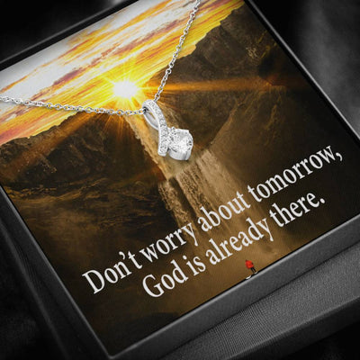 Don't Worry Inspirational Message Gift Eternity Ribbon Stone Pendant Inspirational Gift Sympathy Gift Christian Gift Bible Verse