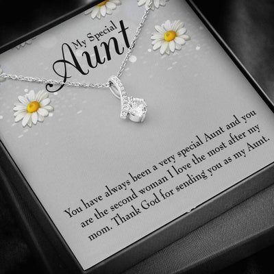 Aunt Jewelry Gift Special Aunt Eternity Ribbon Stone Pendant 14k White Gold Stainless Steel 18-22
