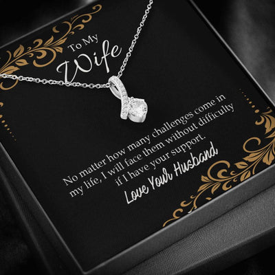 Wife Gift No Matter How Many Challenges Eternity Ribbon Stone Pendant 14k White Gold Stainless Steel 18-22