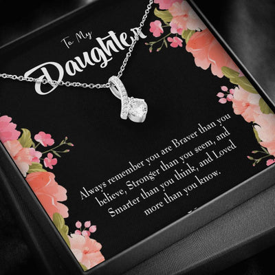 Daughter Jewelry Gift Braver Stronger and Smarter Eternity Ribbon Stone Pendant 14k White Gold Stainless Steel 18-22