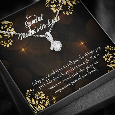 Mother-in-Law Jewelry Gift Someone Wonderful Eternity Ribbon Stone Pendant 14k White Gold Stainless Steel 18-22 Bonus Mom Gift