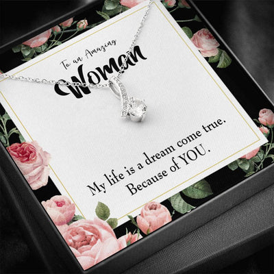 Gift for Wife Dream Come True Eternity Ribbon Stone Pendant 14k White Gold Stainless Steel 18-22