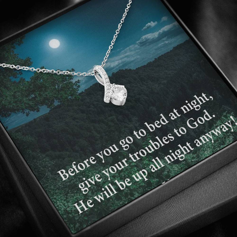 God Has Your Problems Inspirational Message Gift Eternity Ribbon Stone Pendant Inspirational Gift Sympathy Gift Christian Gift Bible Verse