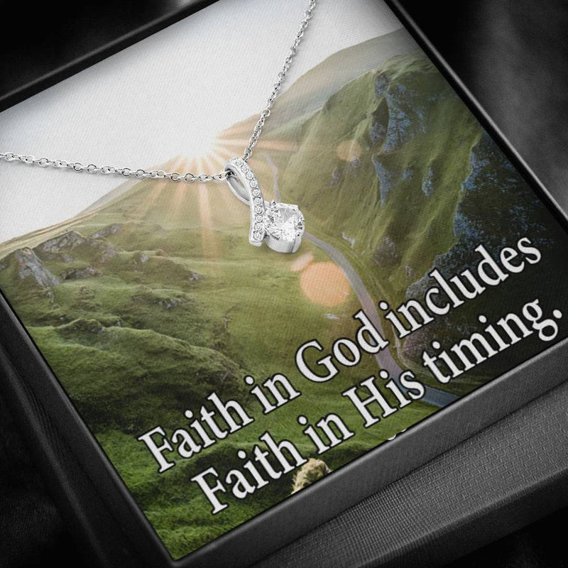 Faith in God's Timing Inspirational Message Gift Eternity Ribbon Stone Pendant Inspirational Gift Sympathy Gift Christian Gift Bible Verse