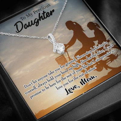 Daughter Jewelry Gift, Always There for You, Eternity Ribbon Stone Pendant, 14k White Gold Stainless Steel 18-22, Mom to Daughter Gift