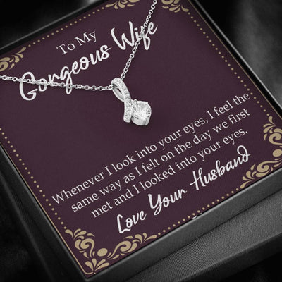 Wife Gift Whenever I Look Into Your Eyes Eternity Ribbon Stone Pendant 14k White Gold Stainless Steel 18-22