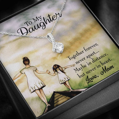 Daughter Jewelry Gift, Never Apart from Mom, Eternity Ribbon Stone Pendant, 14k White Gold Stainless Steel 18-22, Mom to Daughter Gift