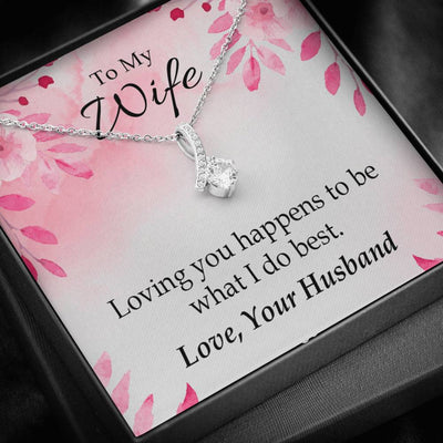 Wife Gift Loving You is What I Do Best Eternity Ribbon Stone Pendant 14k White Gold Stainless Steel 18-22