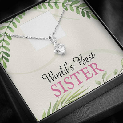 Personalized Message Jewelry, World's Best Sister, Eternity Ribbon Stone Pendant, 14k White Gold Stainless Steel 18-22