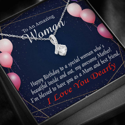 Mom Jewelry Gift, Mom and Best Friend, Eternity Ribbon Stone Pendant, 14k White Gold Stainless Steel 18-22, Mom Birthday Messages