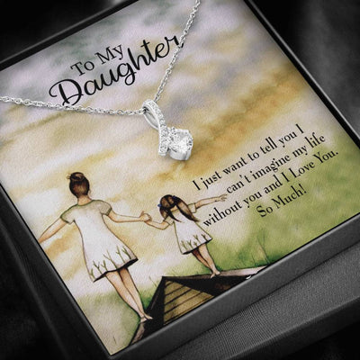 Daughter Jewelry Gift To My Daughter Mom Eternity Ribbon Stone Pendant 14k White Gold Stainless Steel 18-22 Mom to Daughter Gift