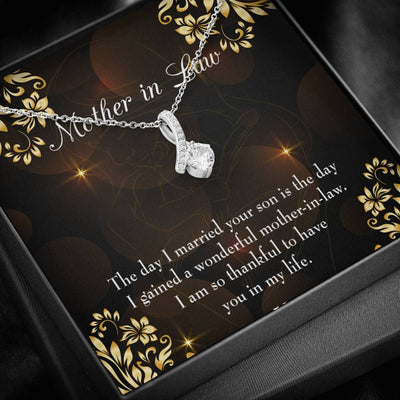 Mother-in-Law Jewelry Gift A Wonderful Mother-in-Law Eternity Ribbon Stone Pendant 14k White Gold Stainless Steel 18-22 Bonus Mom Gift