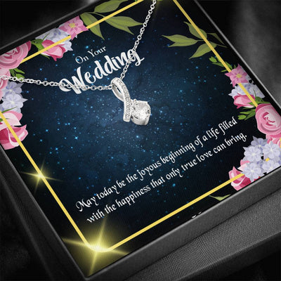 Gift for Wife On Your Wedding Eternity Ribbon Stone Pendant 14k White Gold Stainless Steel 18-22