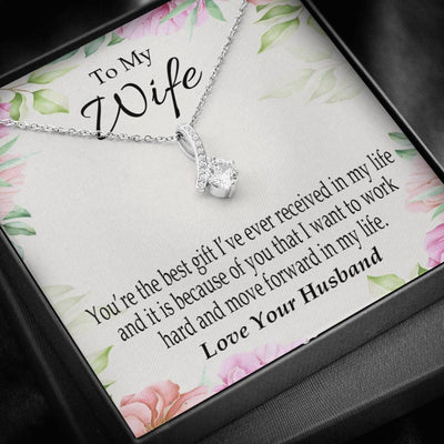 Wife Gift You're The Best Gift Eternity Ribbon Stone Pendant 14k White Gold Stainless Steel 18-22