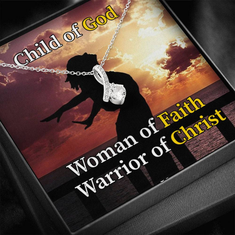 Child of God Woman of Faith Warrior of Christ Inspirational Message Gift Eternity Ribbon Stone Pendant Inspirational Gift Sympathy Gift Christian Gift Bible Verse