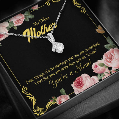 Mother-in-Law Jewelry Gift Connected Eternity Ribbon Stone Pendant 14k White Gold Stainless Steel 18-22 Bonus Mom Gift