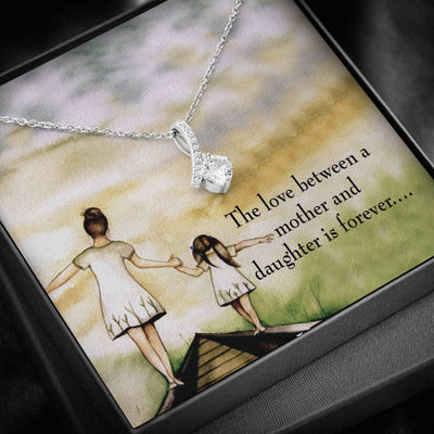 Daughter Jewelry Gift, Mother Daughter Eternal Love, Eternity Ribbon Stone Pendant, 14k White Gold Stainless Steel 18-22, Mom to Daughter Daughter Gift
