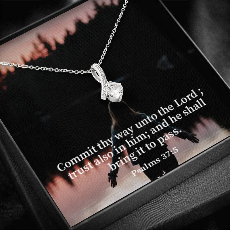 Commit & Trust the Lord Inspirational Message Gift Eternity Ribbon Stone Pendant Inspirational Gift Sympathy Gift Christian Gift Bible Verse