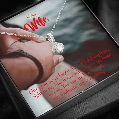Gift for Wife My Soulmate My Everything Eternity Ribbon Stone Pendant 14k White Gold Stainless Steel 18-22