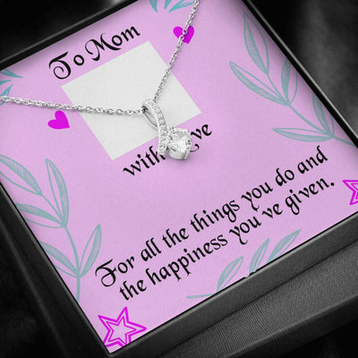 Personalized Message Jewelry To Mom With Love Eternity Ribbon Stone Pendant 14k White Gold Stainless Steel 18-22
