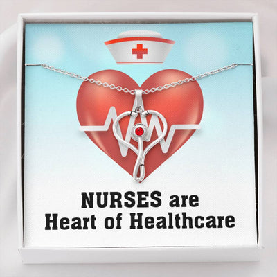 Nurses are Heart of Healthcare, Nurse Gift, Stethoscope Necklace Swarvoski Crystal Pendant, Health Care Worker Appreciation Gift