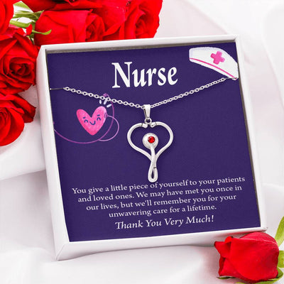 Gift for Nurse Little Piece Stethoscope Necklace Swarvoski Crystal Pendant