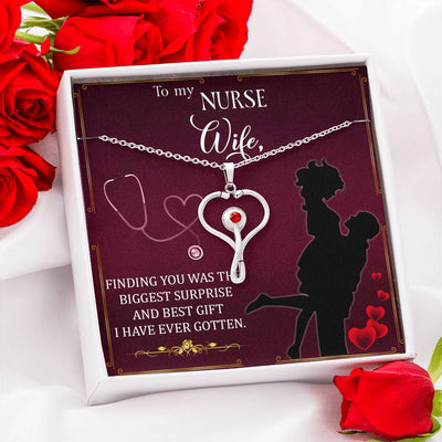 Biggest Surprise Nurse Wife Gift Stethoscope Necklace Swarvoski Crystal Pendant Health Care Worker Appreciation Gift