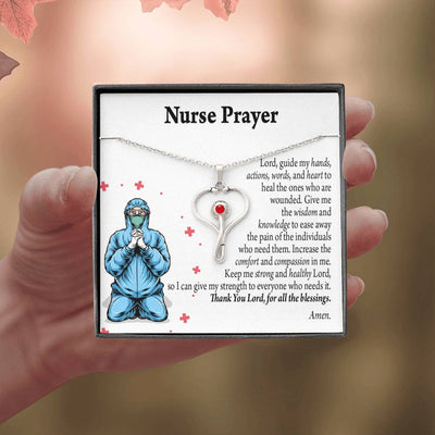 Gift for Nurse Nurse Prayer Stethoscope Necklace Swarvoski Crystal Pendant