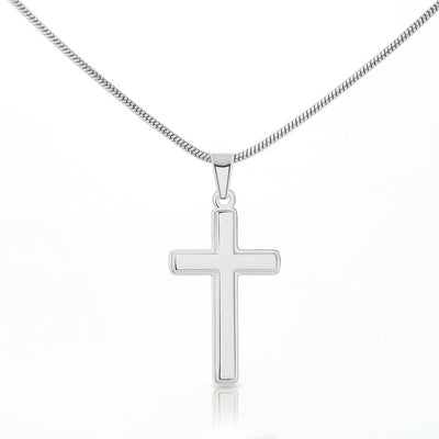 Ask & You Shall Receive Inspirational Keepsake Card Cross Necklace Stainless Steel Pendant Religious Gift