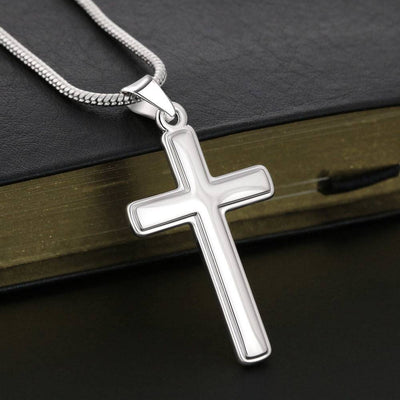 Be Strong in the Lord Ephesians Verse Faith Keepsake Card Cross Necklace Stainless Steel Pendant Religious Gift