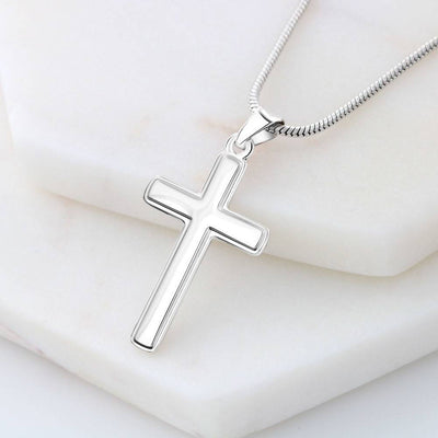 Lord is my Strength Faith Keepsake Card Cross Necklace Stainless Steel Pendant Religious Gift