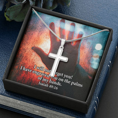 Isaiah 4916 Faith Keepsake Card Cross Necklace Stainless Steel Pendant Religious Gift
