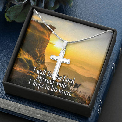 Inspirational Psalm Keepsake Card Cross Necklace Stainless Steel Pendant Religious Gift