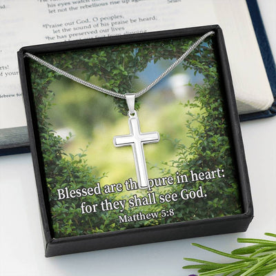Blessed Pure in Heart Faith Keepsake Card Cross Necklace Stainless Steel Pendant Religious Gift