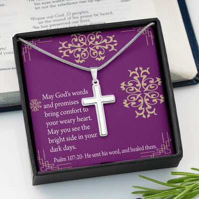 Christian Encouragement Get Well - Gods Words & Promises Message Card Cross Necklace Stainless Steel Pendant