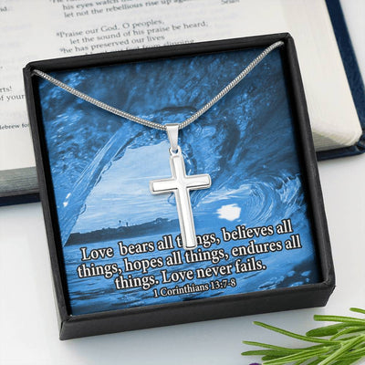 Love Bears All Faith Keepsake Card Cross Necklace Stainless Steel Pendant Religious Gift