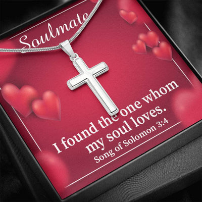 Song of Solomon My Soul Loves Faith Keepsake Card Cross Necklace Stainless Steel Pendant Religious Gift