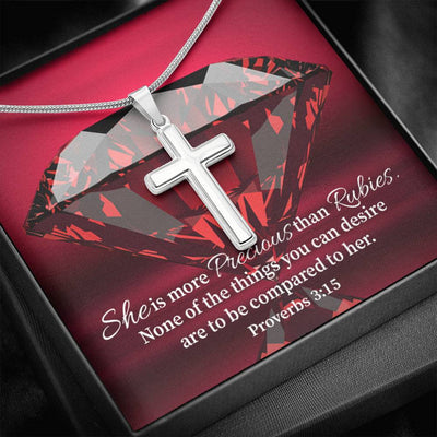 Better than Rubies Faith Keepsake Card Cross Necklace Stainless Steel Pendant Religious Gift