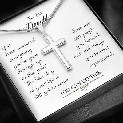 To my Daughter-You have Survived Faith Keepsake Card Cross Necklace Stainless Steel Pendant