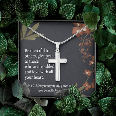 Christian Encouragement Care and Concern Message Card Cross Necklace Stainless Steel Pendant