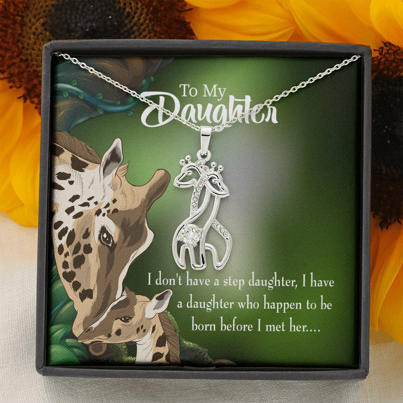 To my Daughter To my Step Daughter, Mom Giraffe Charm Necklace Message Card CZ Pendant Stainless Steel 14k or 18k Gold