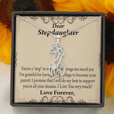 To Stepdaughter from Dad or Mom Milestones Giraffe Charm Necklace Message Card CZ Pendant Stainless Steel 14k or 18k Gold - Express Your Love Gifts