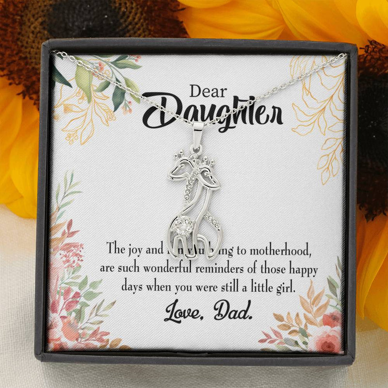 To my Daughter Wonderful Reminder to Dad Giraffe Charm Necklace Message Card CZ Pendant Stainless Steel 14k or 18k Gold