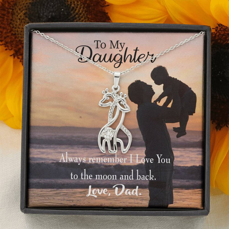 To my Daughter To the Moon and Back, Dad Giraffe Charm Necklace Message Card CZ Pendant Stainless Steel 14k or 18k Gold