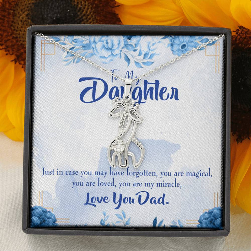 To my Daughter You are My Miracle- Dad to Daughter Giraffe Charm Necklace Message Card CZ Pendant Stainless Steel 14k or 18k Gold